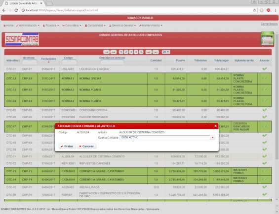 Vinculando articulos al plan de cuentas contable